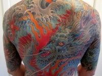 Great blue dragon on back for men