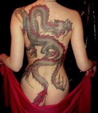 Great colorful  dragon tattoo for women