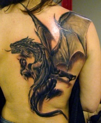 Great dragon tattoo on back