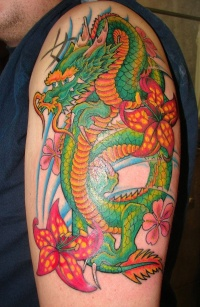 Japanese green dragon tattoo on arm