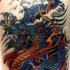Chinese blue dragon in flame artwork tattoo